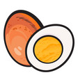 boiled peeled chicken egg whole and cut in half vector image vector image