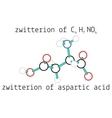 C4H7NO4 zwitterion aspartic acid amino molecul vector image vector image