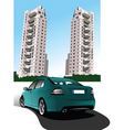 car and buildings vector image vector image