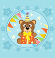 cartoon background with funny bear vector image vector image
