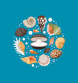 cartoon sea shells round banner design vector image vector image