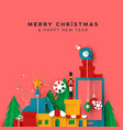 christmas and new year card papercut toy city vector image vector image