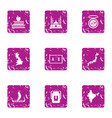 civil structure icons set grunge style vector image vector image