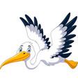 cute cartoon stork is flying vector image vector image