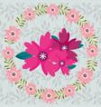 delicate wreath flowers decoration ornament floral vector image