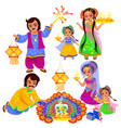 diwali indian holiday celebration with families vector image