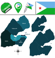 Djibouti map with named divisions vector image vector image
