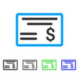 dollar cheque flat icon vector image vector image