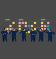 employee businessman looking together at sticky vector image vector image