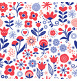 floral seamless pattern - hand drawn design vector image vector image