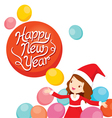Girl In Santa Costume With Balloons vector image vector image