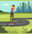 girl riding on gyroscope on city background vector image vector image