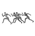 greek marathon runners in vintage style a group vector image