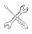 hand draw screwdriver with wrench vector image vector image