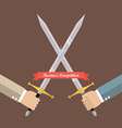Hand fighting with swords vector image vector image