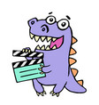 happy purple dragon with movie clapper board vector image