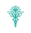 health symbol logo design and lotus flower vector image