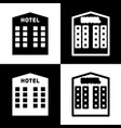hotel sign black and white icons and line vector image vector image