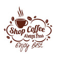 icon coffee cup or bean for coffeeshop vector image vector image