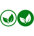 icon with green leaf vector image vector image