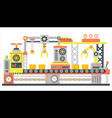 industrial abstract machine line in flat style vector image