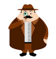 isolated cute detective cartoon character vector image