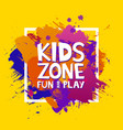 Kids zone colorful banner cartoon letters and
