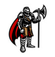 knight stand holding axe vector image vector image