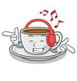 listening music coffee character cartoon style vector image vector image