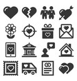 love icons set on white background vector image