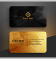 low poly golden and black business card template vector image vector image