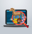 Magnifying Glass Found Virus in Laptop Computer vector image