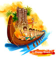 meenakshi temple backdrop snakeboat race in onam vector image vector image
