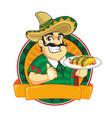 mexican chef mascot cartoon vector image vector image