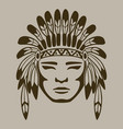 native american warrior hand drawn vector image vector image