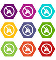 no moth sign icon set color hexahedron vector image vector image