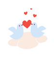 pair of doves in love sitting on a cloud vector image vector image