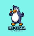 penguin holding ice cream vector image