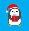 penguin wearing santa claus red hat gift box cute vector image
