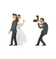 photographer taking photo of newlywed with camera vector image vector image