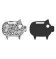 piggy bank mosaic of service tools vector image