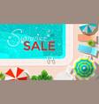 pool and lounges with summer sale announcement vector image vector image