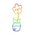 rainbow gradient line drawing cute cartoon flower vector image vector image