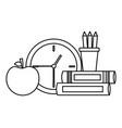 school clock apple books vector image vector image