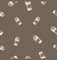 seamless pattern with coffee paper cup vector image vector image