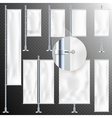 Set of 8 White textile banner and flags EPS 10 vector image