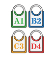 set of four colored tags vector image