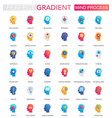 set trendy flat gradient mind brain vector image