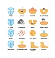 Skin types care and cosmetic icons vector image vector image