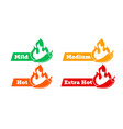 spicy chili hot pepper level labels spicy food vector image